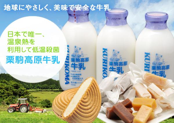 地球にやさしく、美味で安全な牛乳 日本で唯一 温泉熱を利用して低温殺菌  栗駒高原牛乳