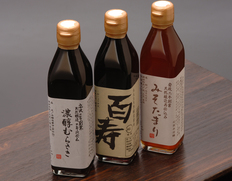 安政2年創業 石孫本店の【天然醸造の醤油3点セット】(百寿・みそたまり・濃醇むらさき)