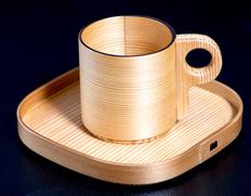 大館曲げわっぱ 【樹齢150年以上の天然杉使用 コーヒーセット 受け皿付き(四角)】 *ウレタン樹脂塗装