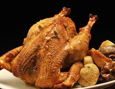 12/21〜23出荷限定 大門商店謹製「比内地鶏のローストチキン」 1羽(調理前中抜きで約2.0kg)※冷蔵 クリスマスに