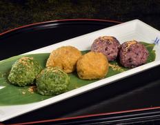 熊野本宮で作った釜餅セット(よもぎ×2P、古代米×1P、くるみ×1P入り)(5セットまで同梱でお届け可) ※冷凍