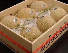 1/18〜30出荷 『クラウンメロン』約8kg(6玉)等級:白 静岡県産 産地箱 ※常温【◆】