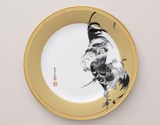 約6ヶ月でお届け◇ 【大倉陶園×細見美術館】伊藤若冲「群鶏図」より 金地群鶏図 30cm飾り皿