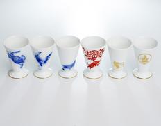 大倉陶園作 干支の酒杯「申・酉・戌・亥・子・丑」 各1杯
