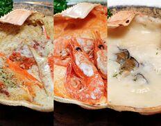 『カニ屋が作る 海のグラタン 3種セット』(夫婦松葉ガニ、甘海老、岩牡蠣)各1個 ※冷凍